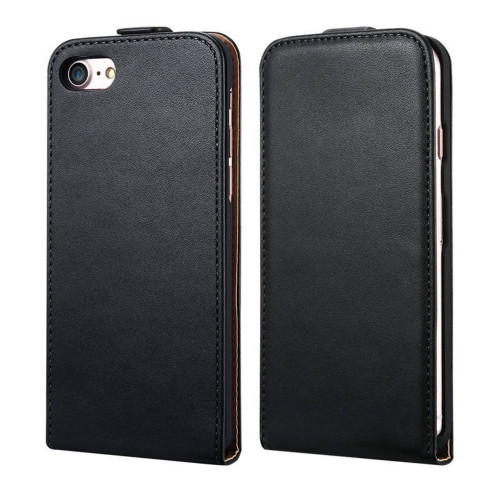 Black Apple iPhone 7 Plus Vertical Flip Genuine Split Leather Case - 1