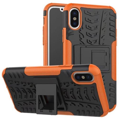 Orange Apple iPhone X Heavy Duty Hybrid Kickstand Defender Smart Case - 1