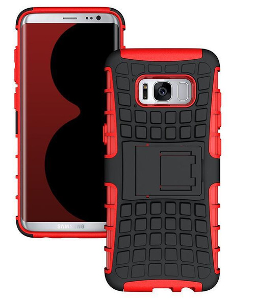 Red Heavy Duty Hybrid Kickstand Defender Case For Samsung Galaxy S8 Plus - 1