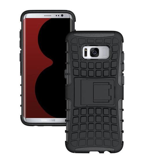 Samsung Galaxy S8 Plus Hybrid Defender Shock Proof Kickstand Smart Case Cover - Black - 1
