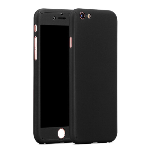 Black iPhone X / XS 360 Full Body Protection Case + Tempered Glass - 1