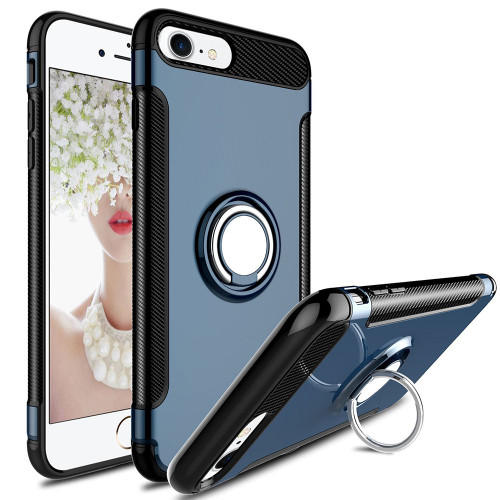 Navy Blue Shock Proof 360 Degree Ring Stand Magnetic Case for iPhone 7 / 8 - 1