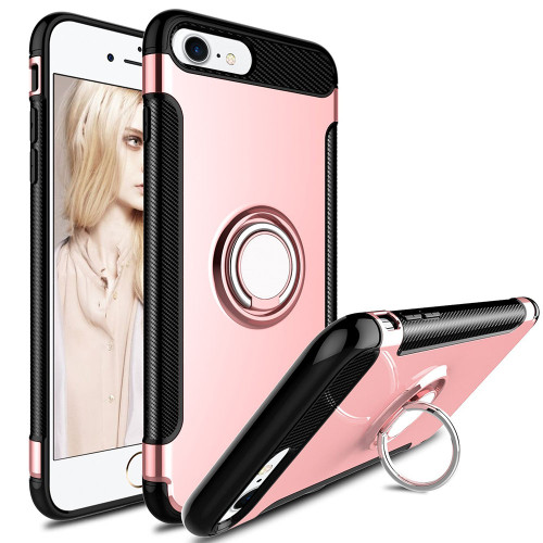 Rose Gold Armor 360 Degree Ring Stand Magnetic Case for iPhone 7 / 8 - 1