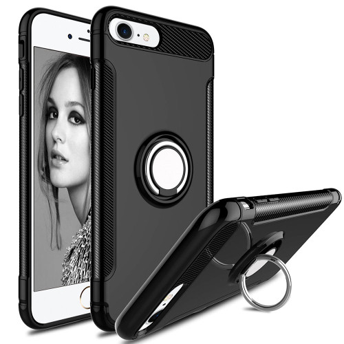 Black 360 Degree Ring Stand Magnetic Armor Case for iPhone 7 / 8 - 1