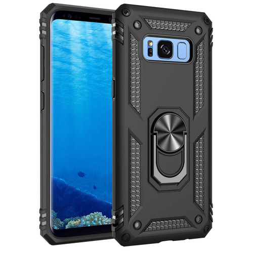 Black Samsung Galaxy S8 Protective 360 Degree Ring Stand Case - 1