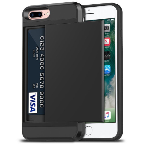 Black Slide Armor Case with Card Slot For Apple iPhone 7 Plus / 8 Plus - 1