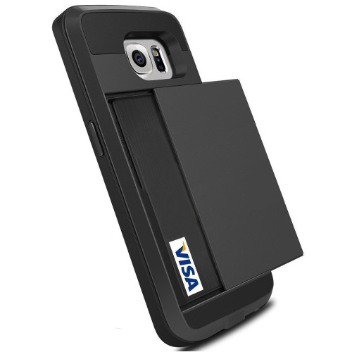 Black Slide Armor Case with Card Slot Holder For Samsung Galaxy S6 - 1