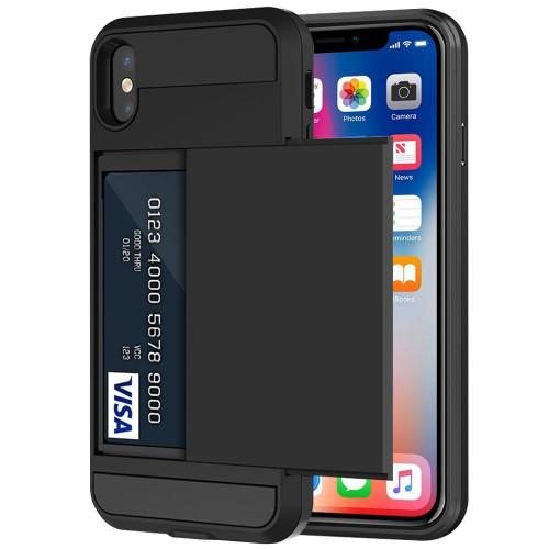 Black Slide Card Pocket Armor Case For Apple iPhone X - 1