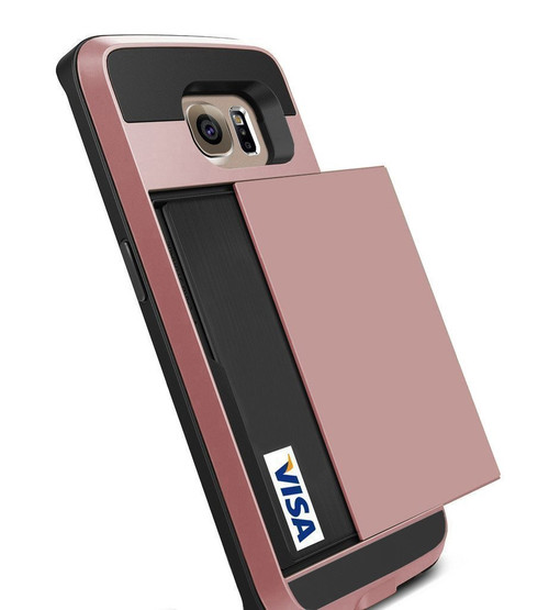 Rose Gold Slide Armor Case with Card Slot For Samsung Galaxy S6 Edge - 1
