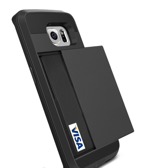 Black Shock Proof Slide Card Armor Case For Samsung Galaxy S6 Edge - 1