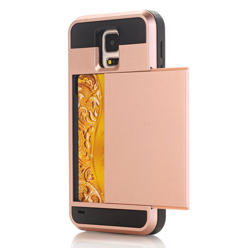 Rose Gold Slide Armor Case with Card Slot Holder For Samsung Galaxy S5 - 1