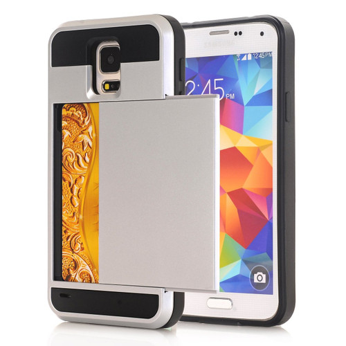 Satin Silver Protective Shell Slide Armor Card Holder Case For Samsung Galaxy S5 - 1