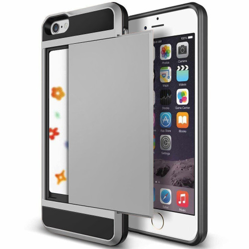 Satin Silver Protective Shell Slide Armor Card Holder Case For Apple iPhone 5, 5S - 1