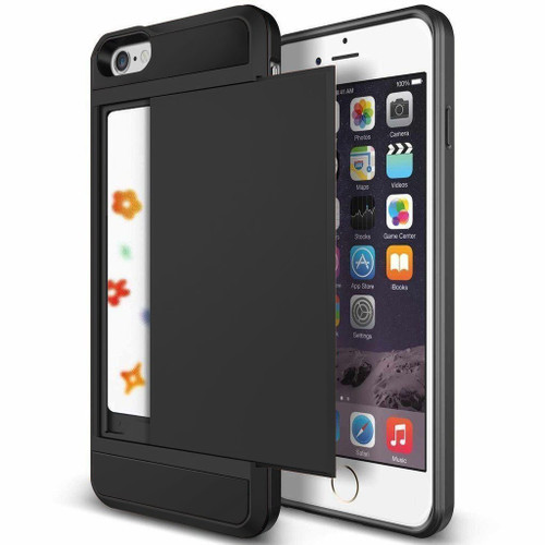Black Shock Proof Slide Card Armor Case For Apple iPhone 6 / 6S - 1