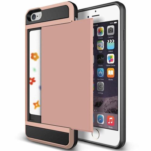 Rose Gold Slide Armor Case with Card Slot Holder For Apple iPhone 6 / 6S - 1