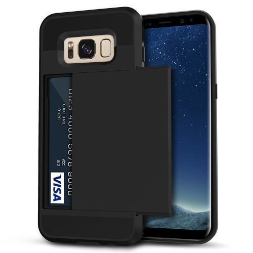 Black Shock Proof Slide Card Armor Case For Samsung Galaxy S8 - 1