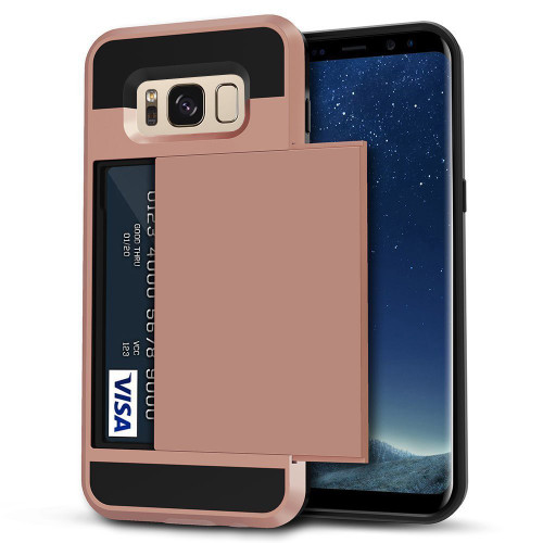 Rose Gold Slide Armor Case with Card Slot Holder For Samsung Galaxy S8 - 1
