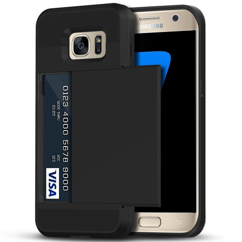 Black Shock Proof Slide Card Armor Case For Samsung Galaxy S7 - 1