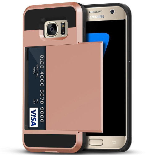 Rose Gold Slide Armor Case with Card Slot Holder For Samsung Galaxy S7 - 1