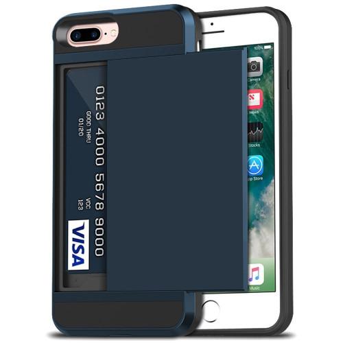 Navy Slide Card Pocket Armor Case For Apple iPhone 7 / 8 - 1