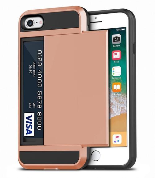 Rose Gold Slide Card Pocket Armor Case For Apple iPhone 7 / 8 - 1