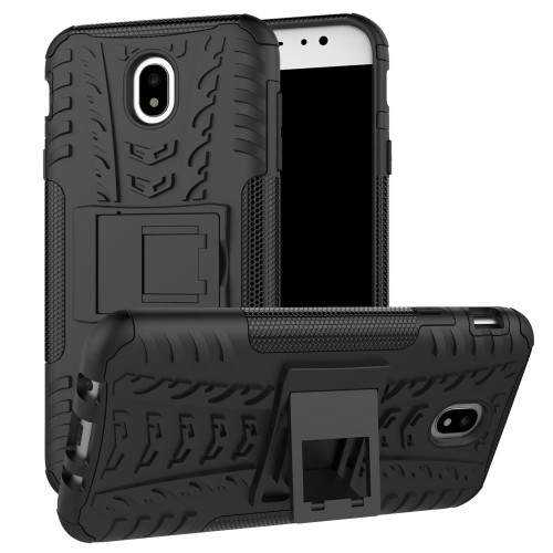 Black Samsung Galaxy J7 Pro (2017) Shock Proof Kickstand Case