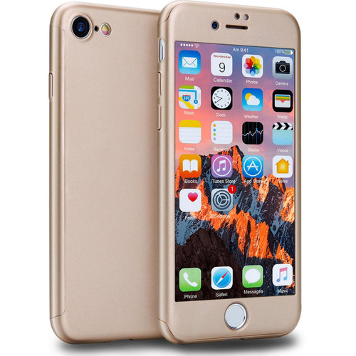 Gold iPhone 8 Dual Layer 360 Degree Protection Case + Tempered Glass - 1