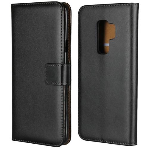 Samsung Galaxy S9 Black Genuine Leather Business Wallet Smart Case - 1