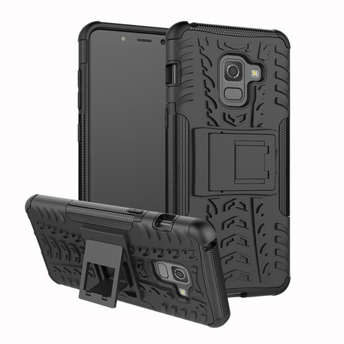 Black Shock Proof Case with Kickstand For Samsung Galaxy A8 (2018)