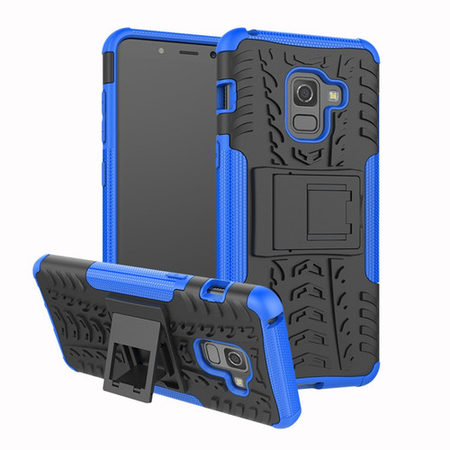 Blue Heavy Duty Hybrid Kickstand Case For Samsung Galaxy A8 (2018)