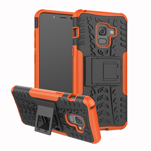 Samsung Galaxy A8 (2018) Orange Tough Tradies Hybrid Case + Stand
