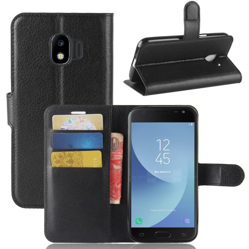 Black Litchi Wallet Case Card Slots For Samsung Galaxy J2 Pro (2018)