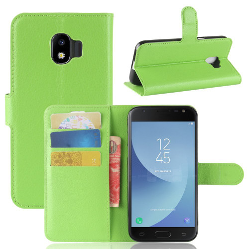 Green Samsung Galaxy J2 Pro (2018) Litchi Wallet Case Cover
