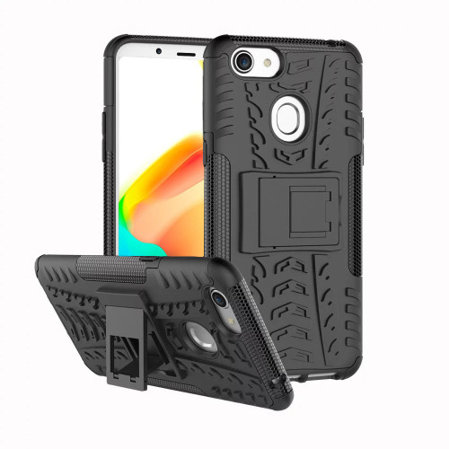 Black Heavy Duty Defender Hybrid Kickstand Case for Oppo A73 - 1
