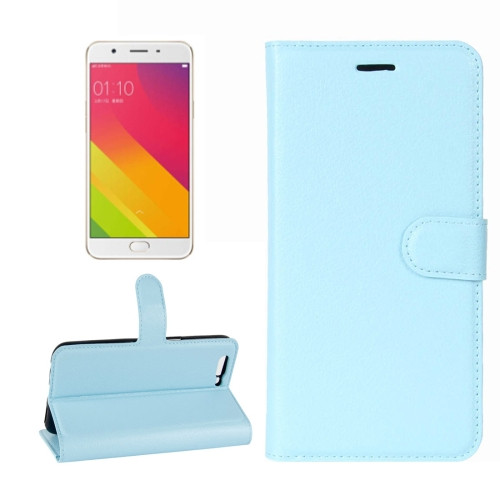 Aqua Premium Litchi Leather Wallet Stand Case for Oppo R11s