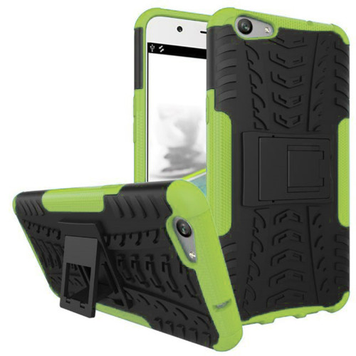 Green Defender Shock Proof Hybrid Kickstand Case for Oppo A57