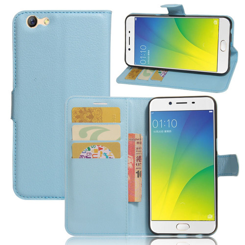 Aqua Premium Litchi Leather Wallet Stand Case for Oppo A57