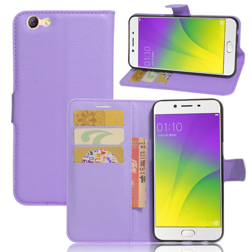 Purple Premium Litchi Leather Wallet Stand Case for Oppo A57