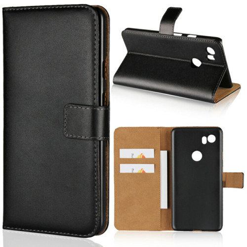 Genuine Leather Wallet Cover Phone Case for Google Pixel 2 XL - 1