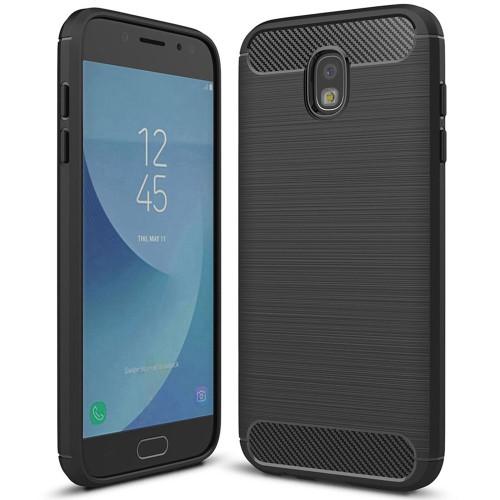 Black Samsung Galaxy J7 Pro 2017 Slim Armor Carbon Fibre Case - 1