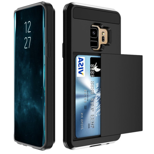 Black Samsung Galaxy S9 Slide Armor Credit Card Holder Case Cover