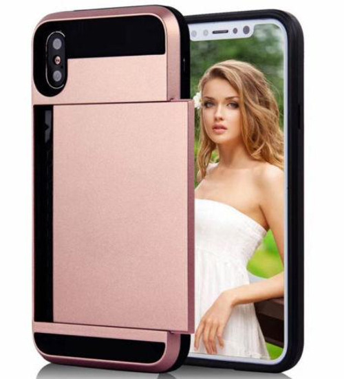 Rose Gold Slide Armor Dual Layer Credit Card Case For Apple iPhone XS