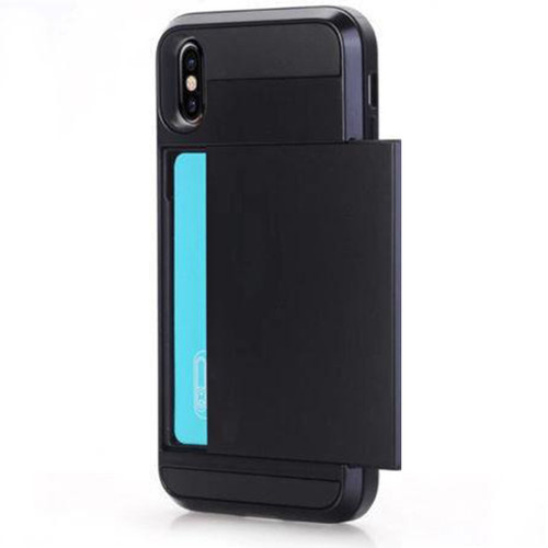 Black Slide Armor Card Shock Proof Defender Case For Apple iPhone XS Max