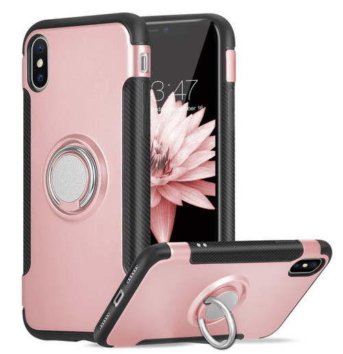 Rose Gold iPhone XR Metal 360 Degree Magnetic Ring Armour Stand Case - 1