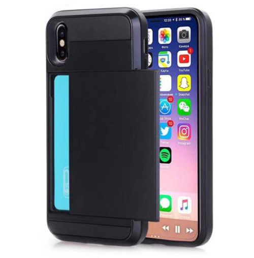Black Slide Card Pocket Armor Case For Apple iPhone XR