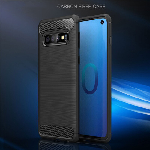 Black Slim Armor Carbon Fibre Gel Case For Samsung Galaxy S10 - 1