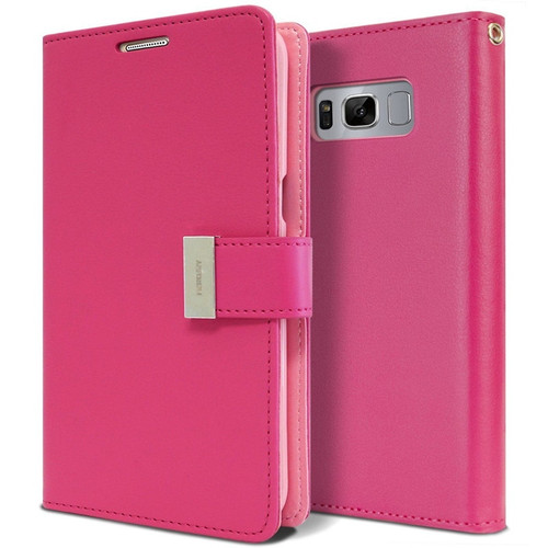 Hot Pink Samsung Galaxy S10 Genuine Mercury Rich Diary Wallet Case - 1