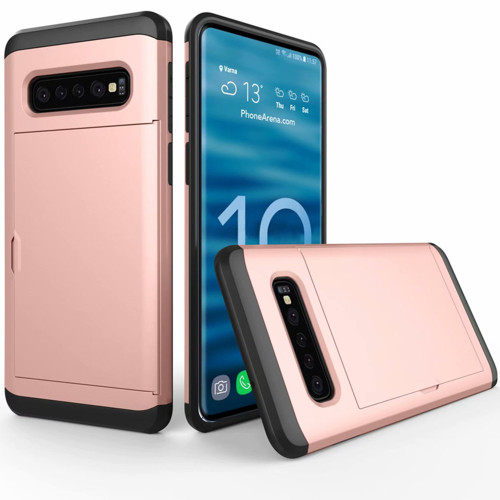 Rose Gold Slide Armor Shock Proof Defender Case Slots for Galaxy S10
