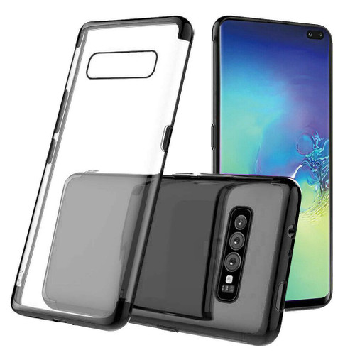 Black Plated Clear Ultra Slim Soft Gel Case For Galaxy S10+ Plus