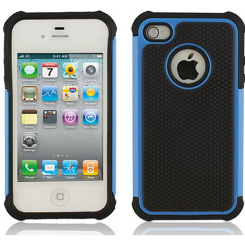 Blue iPhone 4 / 4S Heavy Duty Defender Case - 1